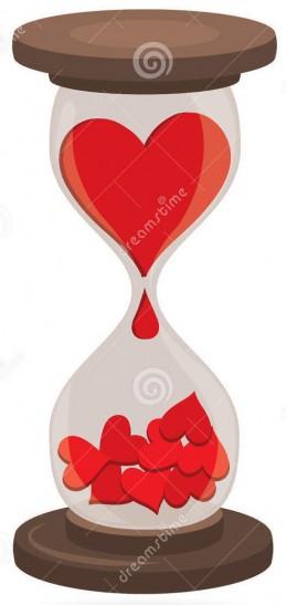 coeurs dans l horloge de sable 24357794